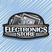 Vector Logo For Electronics Store, Black Decorative Price Tag With Illustration Of Set Modern Electr poster