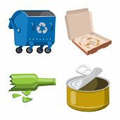 Isolated Object Of Environment And Waste Sign. Collection Of Environment And Ecology Stock Symbol Fo poster