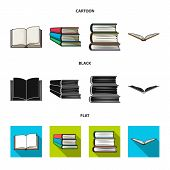 Vector Illustration Of Library And Textbook Icon. Collection Of Library And School Vector Icon For S poster