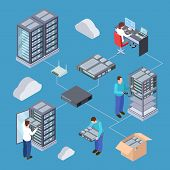 Information Technology Server Engineer 3d Vector Concept. Isometric Servers, Cloud Storage, Computer poster