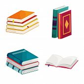 Isolated Object Of Library And Bookstore Sign. Set Of Library And Literature Vector Icon For Stock. poster