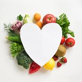 Organic Food Background - Fruits And Vegetables, Creative Layout With Heart Shaped Copy Space. Healt poster