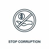 Stop Corruption Icon. Thin Outline Style Design From Corruption Icons Collection. Creative Stop Corr poster