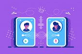 Two People Send Each Other Message From Smartphone. Voice Message Or Recording Voice. Users With Mic poster