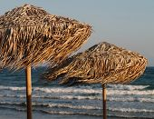 Two Straw Umbrellas On The Wind In Front Of The Wavy Mediterranean Sea And The Clear Blue Sky In Twi poster