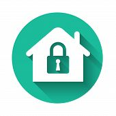White House Under Protection Icon Isolated With Long Shadow. Home And Lock. Protection, Safety, Secu poster