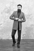 Male Fashion Model. Mature Businessman. Modern Life. Casual Style. Brutal Bearded Hipster In Casual  poster