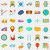 Slow Delivery Icons Set. Cartoon Style Of 36 Slow Delivery Icons For Web For Any Design poster
