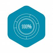 Pie Chart Circle Graph 100 Percent Icon. Outline Illustration Of Icon For Webicon. Outline Illustrat poster