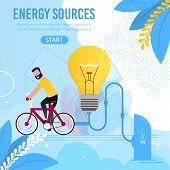 Energy Sources Motivation Cartoon Metaphor Banner. Man Rides Bicycle Generating Ecological Electrici poster