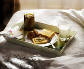pic of bed breakfast  - breakfast served in bed on the tray bread - JPG