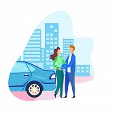 Man And Woman Arrived On Date By Self Driving Car. Couple In Love Hugging Stands On City Street. Peo poster