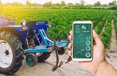 A Hand Is Holding A Smartphone With Infographics On Background Of Tractor And Bulgarian Pepper Plant poster