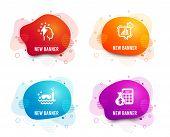 Liquid Badges. Set Of Statistics Timer, Scuba Diving And Brainstorming Icons. Finance Calculator Sig poster