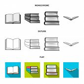 Isolated Object Of Library And Textbook Icon. Set Of Library And School Stock Vector Illustration. poster