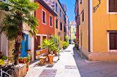 Idyllic Colorful Mediterranean Street Of Novigrad Istarski, Town In Archipelago Of Istria, Croatia poster