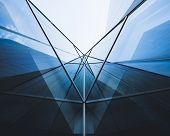 Architecture Detail Glass Facade Modern Building Perspective Futuristic Background poster