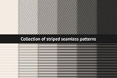 Striped Patterns Collection. Vector Geometric Seamless Textures With Diagonal And Horizontal Stripes poster