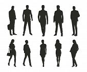 Business Men And Women, Group Of Isolated Business People Vector Silhouettes poster