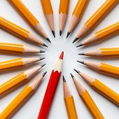 Winner, Exclusivity And Financial Success. One Red Pencil Among Group Of Classic Yellow Ones poster
