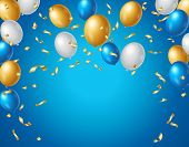 Colored Blue, White And Gold Balloons And Golden Confetti On A Blue Background With Space For Your T poster