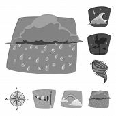 Isolated Object Of Weather And Climate Sign. Set Of Weather And Cloud Stock Bitmap Illustration. poster