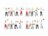 Set Of Chefs With Various Dishes. Flat Cartoon Characters Of Cooks Creating New Recipes. Can Be Used poster