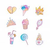 Set Of Princess And Little Girls Cute Fashion Icon. Lovely Vector Set Of Hand Drawn Princess Element poster