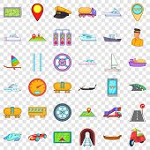 Big Transport Icons Set. Cartoon Style Of 36 Big Transport Icons For Web For Any Design poster
