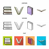 Vector Illustration Of Library And Textbook Logo. Set Of Library And School Stock Symbol For Web. poster