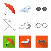 Vector Design Of Weather And Climate Logo. Collection Of Weather And Cloud Stock Symbol For Web. poster