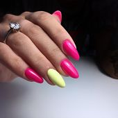 Multi-colored Pastel Manicure Combined Tone On Tone With A Striped Background.nail Art. poster