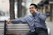 Hispanic Businessman - Talking On Cell Phone