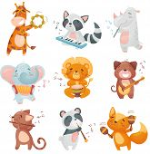 Set Of Cute Animals Musicians. Vector Illustration On White Background. poster