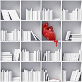 image of cynicism  - anatomical  heart on the bookshelves  - JPG