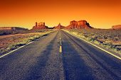 picture of indian blue  - road to Monument Valley at sunset USA - JPG