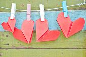 pic of paper craft  - paper heart hanging on the clothesline - JPG