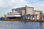 foto of shipbuilding  - Luxury cruise boat at a shipyard in the Netherlands - JPG