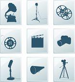 Постер, плакат: Значки с ретро силуэты граммофон отражатель кино Камера микрофон Мегафон