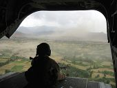pic of military helicopter  - tail gunners view from a chinook helicopter  - JPG