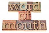 word of mouth - isolated text in vintage letterpress wood type printing blocks