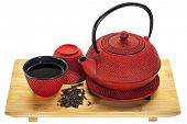 red hobnail tetsubin (traditional cast iron Japanese teapot) with a cup of oolong tea on a bamboo tr