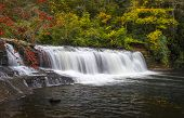 stock photo of hooker  - Hooker Falls Autumn Waterfalls Dupont State Forest NC Fall Foliage nature and landscape photography - JPG