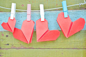pic of clotheslines  - paper heart hanging on the clothesline - JPG