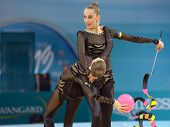 KIEV, UKRAINE - AUGUST 31: Team Ukraine performs the routing with balls and ribbons during the 32nd