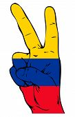stock photo of medellin  - Peace Sign of the Colombian flag on a white background - JPG