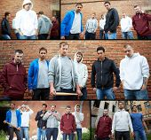 stock photo of rapper  - Collage of street hooligans or rappers - JPG