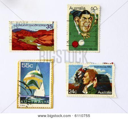Постер, плакат: Старый искусство марки Австралии спорт , холст на подрамнике