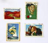 Постер, плакат: Старый искусство марки Австралии спорт