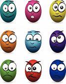 stock photo of blubber  - a group of nine cartoon coloured egg faces - JPG